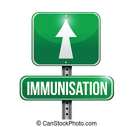 immunization road sign illustration design over a white...