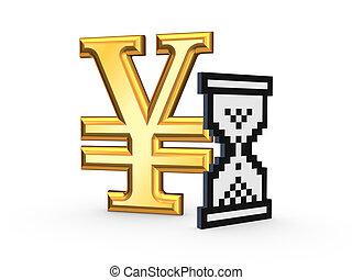 Sandglass icon and symbol of yen