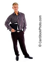 young accountant standing with files