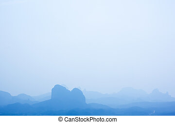 Serene mountains in Danxia Mountains in Guangdong province...