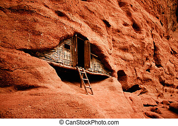 Wooden hut in red canyon China - Man made wooden...