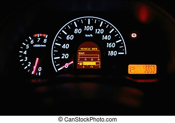 Speedometer and other gauges in the car
