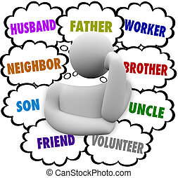 Thinker Thought Clouds Many Roles Husband Father Worker - A...