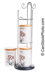 Tea coffee and sugar canisters isolated against on white...