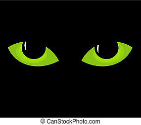 Green cat eyes in darkness. Vector illustration