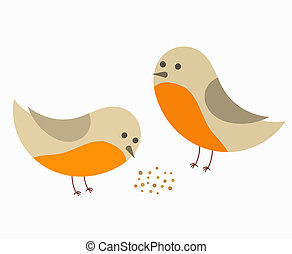 Couple of robin birds