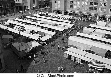 View of market square in Almere I - View of market square in...