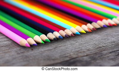 Colorful Wooden Pencil Dolly shot