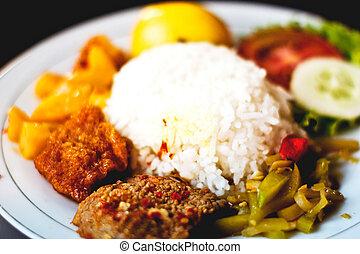 Indonesian nasi rames meal - Indonesian nasi rams meal...