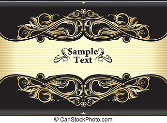 Vintage gold invitation frame design