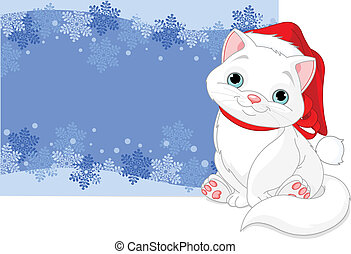 Christmas cat background - Christmas cat near blizzard...