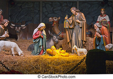 The Nativity scene - The Nativity scene at the Grotto in...