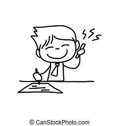 hand drawing cartoon character business person - hand...