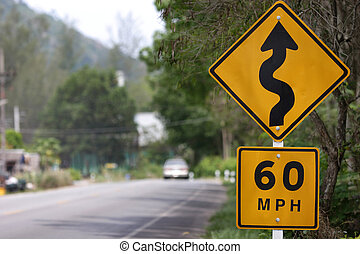 Speed limit sign and winding Road Sign