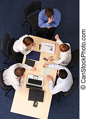 brainstorming - five business people meeting - five business...