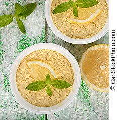 lemon pudding on a white table