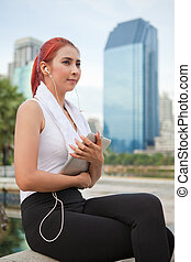 fitness woman listening to music