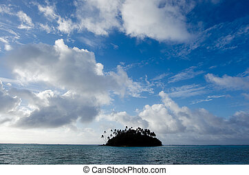 Muri Lagoon in Rarotonga Cook Islands - Seascape of a small...