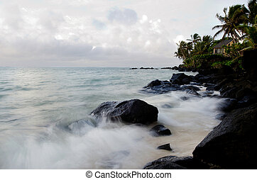 Muri Lagoon in Rarotonga Cook Islands - Sea waves breaks on...