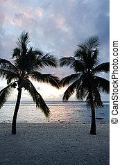 Titikaveka beach in Rarotonga Cook Islands - Silhouette of...