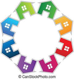 Casas, trabajo en equipo, logotipo