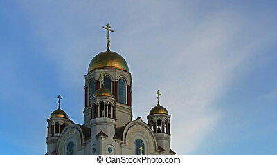 Church on Blood. Ekaterinburg, Russia. Time Lapse