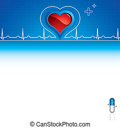 Medical background - Blue pills, heartbeat on blue medical...