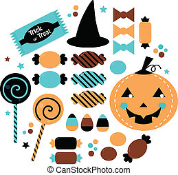 Halloween cute sweet Candy set isolated on white - Halloween...