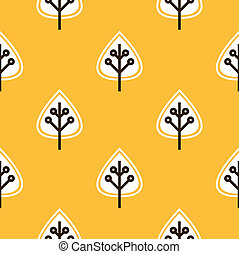 Thanksgiving yellow seamless pattern with leaves -...