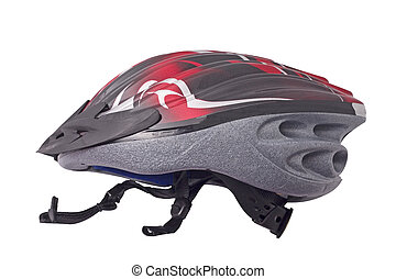 bicycle helmet - red and black bicycle helmet isolated on...