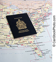 Passport required - Canadian passport on map of the United...