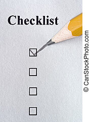 Checklist being filled out in pencil with texture showing in...