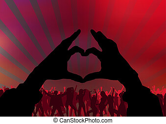 I Love Party - Background With Dancing Audience, Vector...