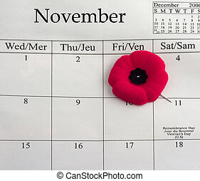 Remembrance Day - Calendar with a poppy pin pointing to...