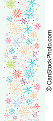 Colorful Doodle Snowflakes Vertical Seamless Pattern Border...