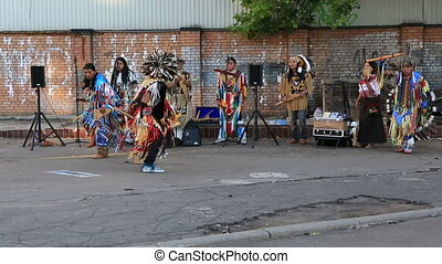 Indians sing and dance in the center of Moscow Russia