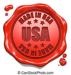 Made in USA - Stamp on Red Wax Seal. - Made in USA - Stamp...