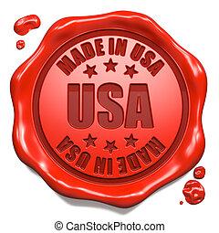 feito, EUA, selo,  -, selo, cera, vermelho