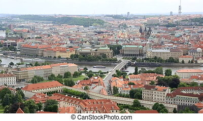 River Vltava in Prague (View from the tower of Saint Vitus...