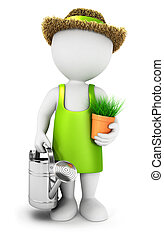 3d white people gardener with a watering can, isolated white...
