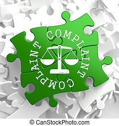Complaint Concept on Green Puzzle Pieces.