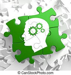 Psicologico, concetto, verde, puzzle, pezzi