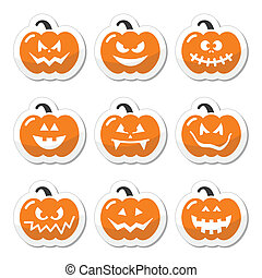 Halloween pumkin orange icons set - Celebrating halloween -...