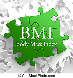 on Green Puzzle. Health Concept. - BMI- Body Mass Index -...