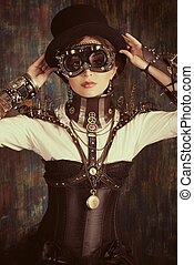cyborg eye wear - Portrait of a beautiful steampunk woman...