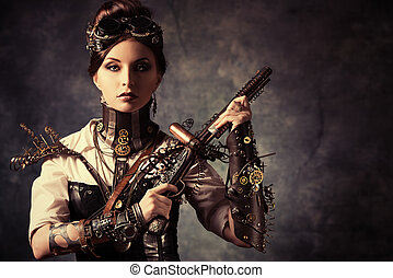 woman gun - Portrait of a beautiful steampunk woman holding...