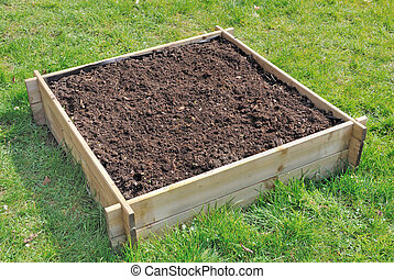 mini vegetable garden - soil in a square wooden tray for...