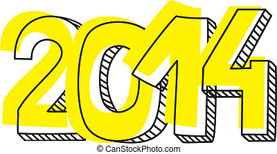 Year 2014 vector hand drawn sign