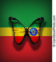 Ethiopian flag butterfly, isolated on flag background