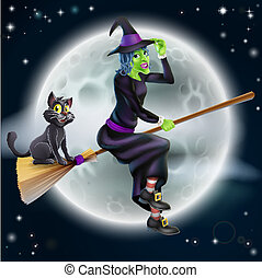Witch flying on broom and night sky - A Halloween...
